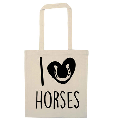 I love horses natural tote bag