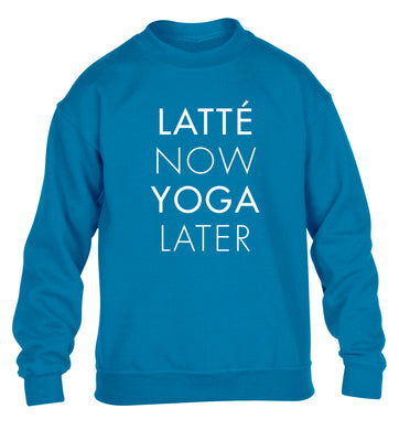 Latte now yoga later children's blue sweater 12-14 Years
