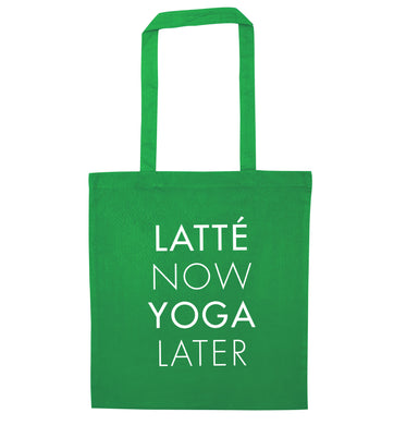 Latte now yoga later green tote bag