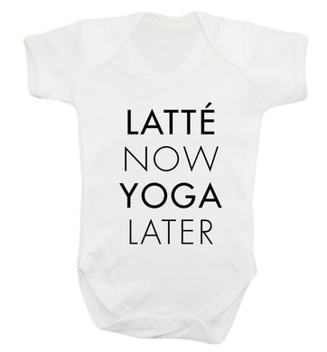 Latte now yoga later Baby Vest white 18-24 months