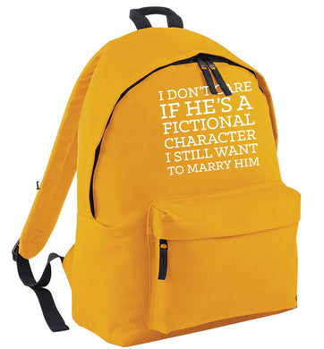 I don't care if he's a fictional character I still want to marry him mustard adults backpack