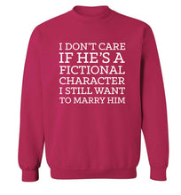 I don't care if he's a fictional character I still want to marry him adult's unisex pink sweater 2XL