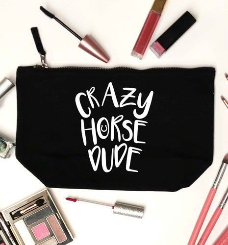 Crazy horse dude black makeup bag
