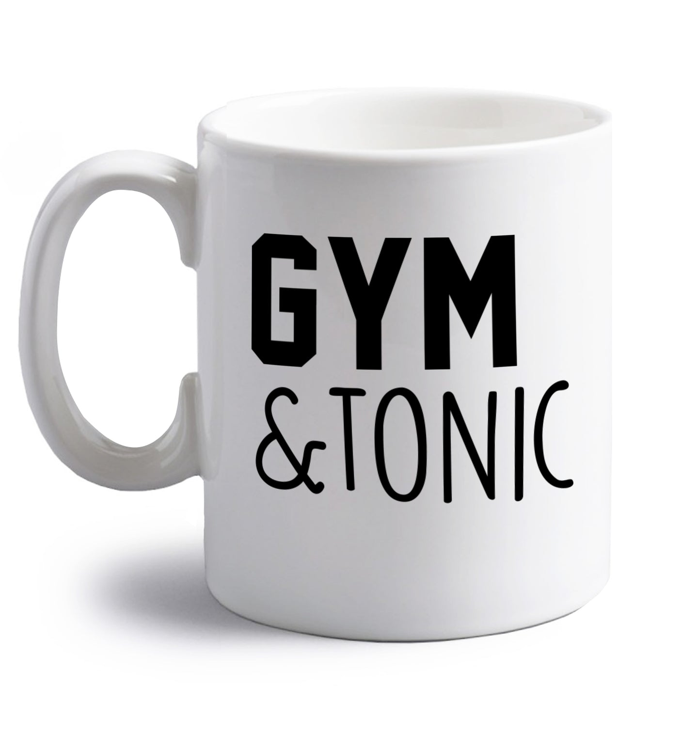 Gym and tonic right handed white ceramic mug