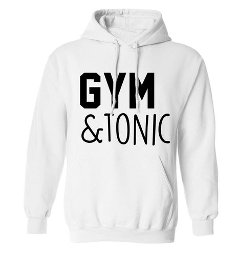 Gym and tonic adults unisex white hoodie 2XL