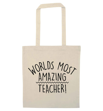Worlds most amazing teacher natural tote bag