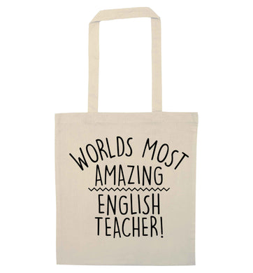 Worlds most amazing English teacher natural tote bag