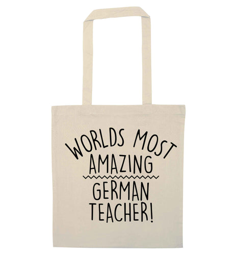 Worlds most amazing German teacher natural tote bag