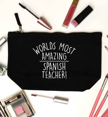 Worlds most amazing Spanish teacher black makeup bag