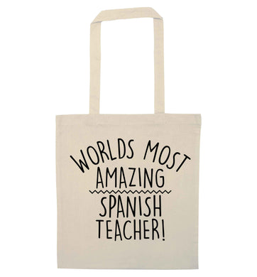 Worlds most amazing Spanish teacher natural tote bag