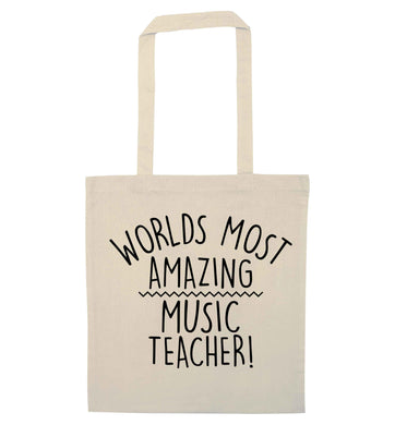 Worlds most amazing music teacher natural tote bag