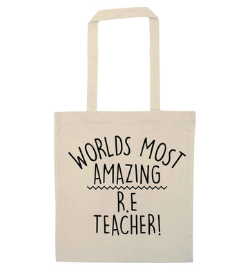 Worlds most amazing R.E teacher natural tote bag