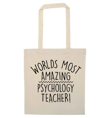 Worlds most amazing psychology teacher natural tote bag