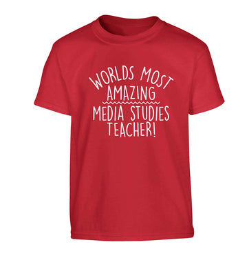 Worlds most amazing media studies teacher Children's red Tshirt 12-13 Years