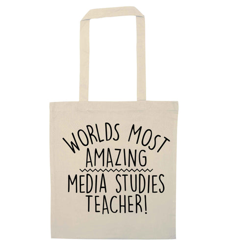 Worlds most amazing media studies teacher natural tote bag