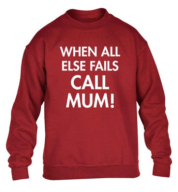 When all else fails call mum! children's grey sweater 12-13 Years