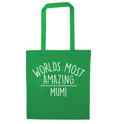 Worlds most amazing mum green tote bag
