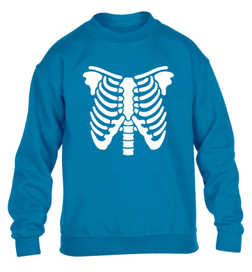 Skeleton ribcage children's blue sweater 12-13 Years