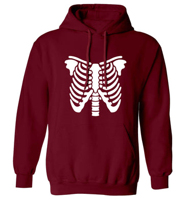 Skeleton ribcage adults unisex maroon hoodie 2XL