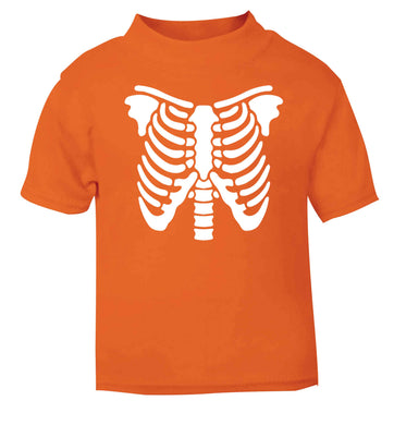 Skeleton ribcage orange baby toddler Tshirt 2 Years