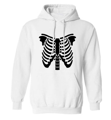 Skeleton ribcage adults unisex white hoodie 2XL