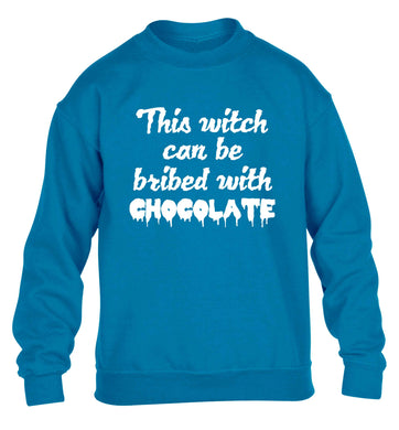 This witch can be bribed with chocolate children's blue sweater 12-13 Years