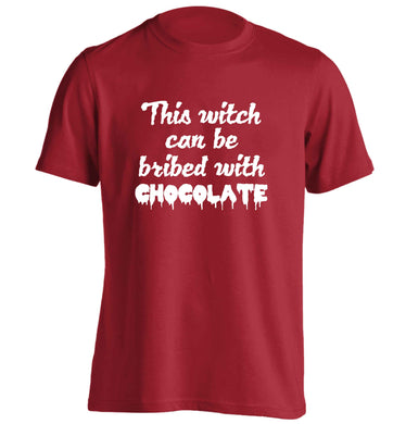 This witch can be bribed with chocolate adults unisex red Tshirt 2XL