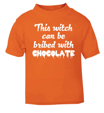 This witch can be bribed with chocolate orange baby toddler Tshirt 2 Years