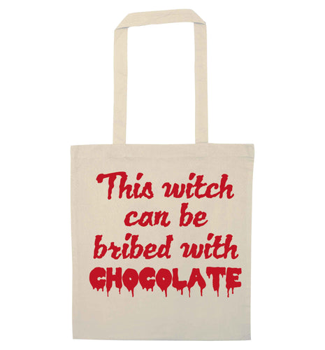 This witch can be bribed with chocolate natural tote bag