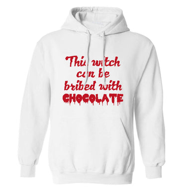This witch can be bribed with chocolate adults unisex white hoodie 2XL