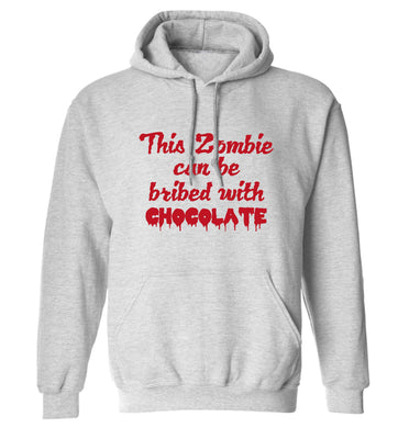 This zombie can be bribed with chocolate adults unisex grey hoodie 2XL