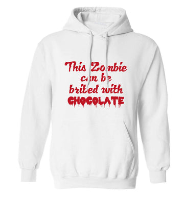 This zombie can be bribed with chocolate adults unisex white hoodie 2XL