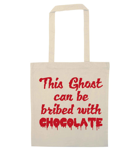 This ghost can be bribed with chocolate natural tote bag