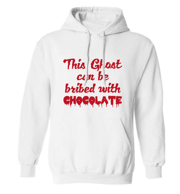 This ghost can be bribed with chocolate adults unisex white hoodie 2XL