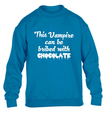 This vampire can be bribed with chocolate children's blue sweater 12-13 Years