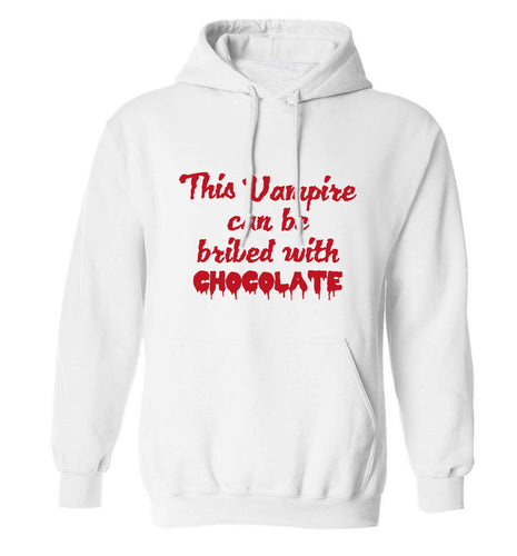 This vampire can be bribed with chocolate adults unisex white hoodie 2XL