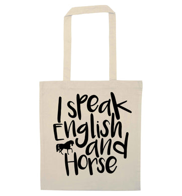 I speak English and horse natural tote bag