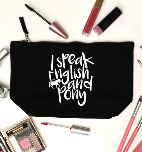I speak English and pony black makeup bag