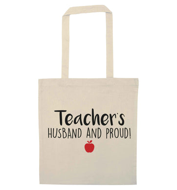 Teachers husband and proud natural tote bag