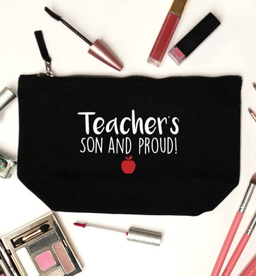 Teachers son and proud black makeup bag