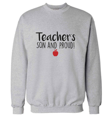 Teachers son and proud adult's unisex grey sweater 2XL