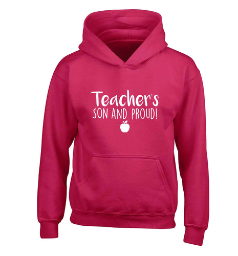 Teachers son and proud children's pink hoodie 12-13 Years