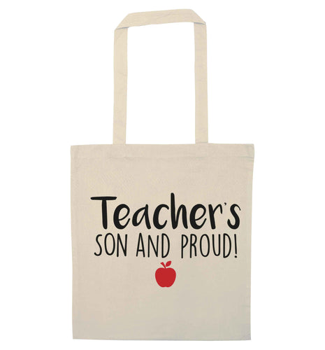Teachers son and proud natural tote bag