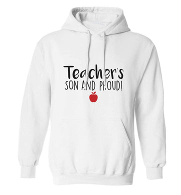 Teachers son and proud adults unisex white hoodie 2XL