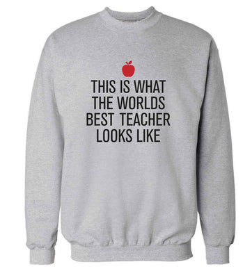 This is what the worlds best teacher looks like adult's unisex grey sweater 2XL