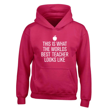 This is what the worlds best teacher looks like children's pink hoodie 12-13 Years