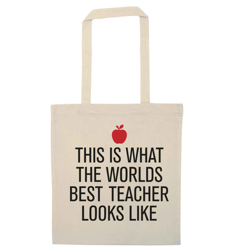This is what the worlds best teacher looks like natural tote bag