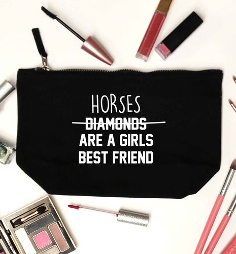 Horses are a girls best friend black makeup bag