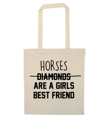 Horses are a girls best friend natural tote bag