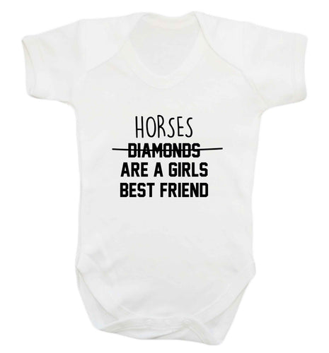Horses are a girls best friend baby vest white 18-24 months